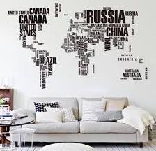 Ülke İsimli Duvar Stickerları
