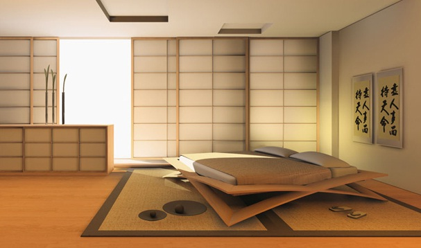 Yeni Tasarım Japon Sitili Yatak Odası Tasarımı