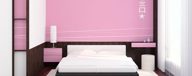 Pembe Renk Japon Sitili Yatak Odası Tasarımı