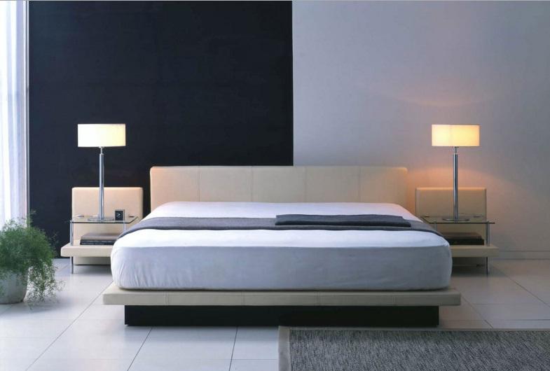 Mavi Renk Japon Stili Yatak Odası Tasarımı