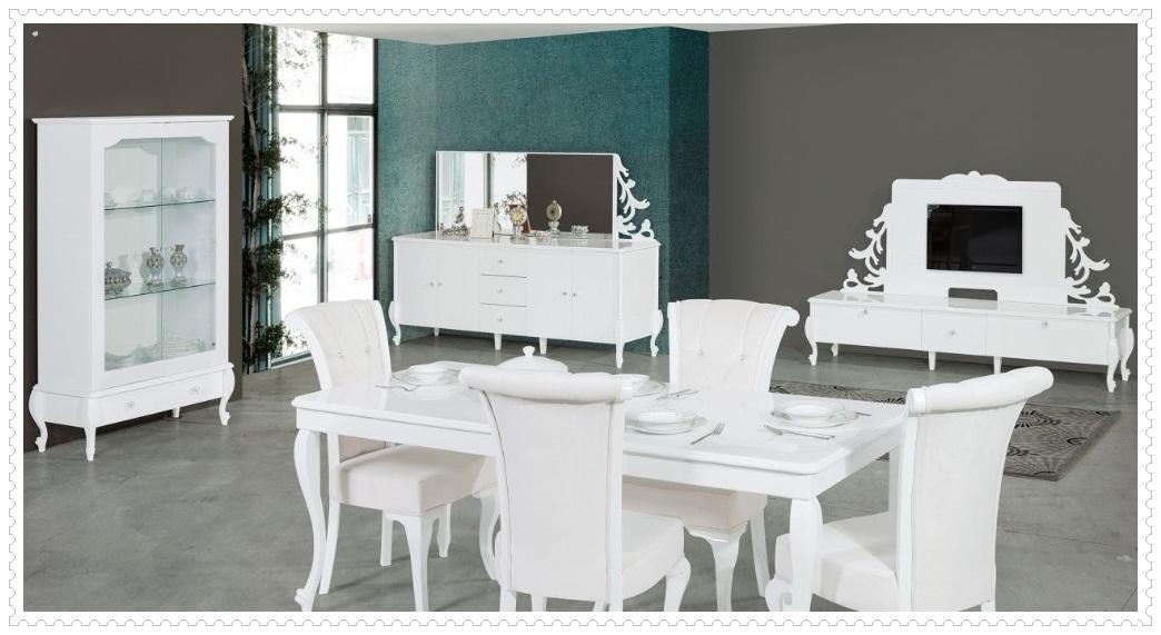 Beyaz Diana Yemek Odası Takımı