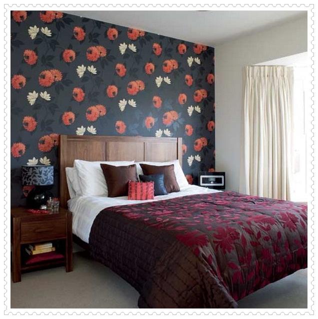 Çiçek Desenli Yatak Odası Duvar Kağıdı