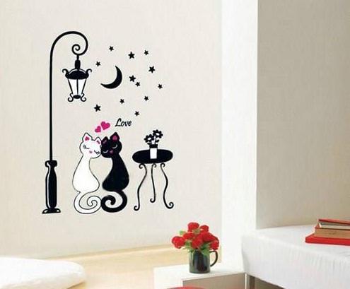 Kedi Resimli Duvar Stickerlari