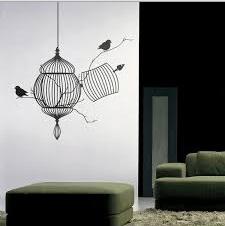Kuş Kafesi Desenli Duvar Stickerları