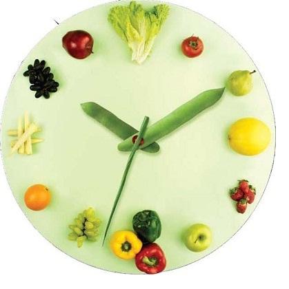 Meyve Sebze Resimli Mutfak Saati Modeli