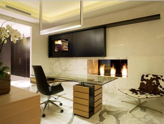 Şömineli Ofis Dekorasyonu