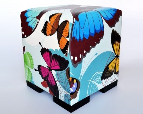 Kelebek Resimli Puf Modelleri
