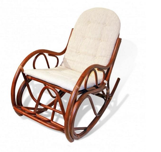 Beyaz Minderli Bambu Sallanan Sandalye