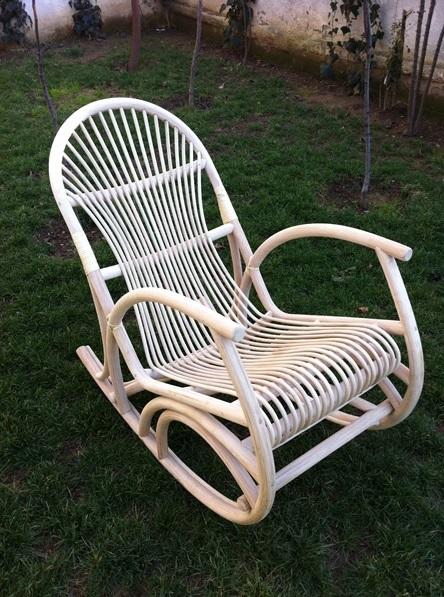 Beyaz Renk Bambu Sallanan Sandalye