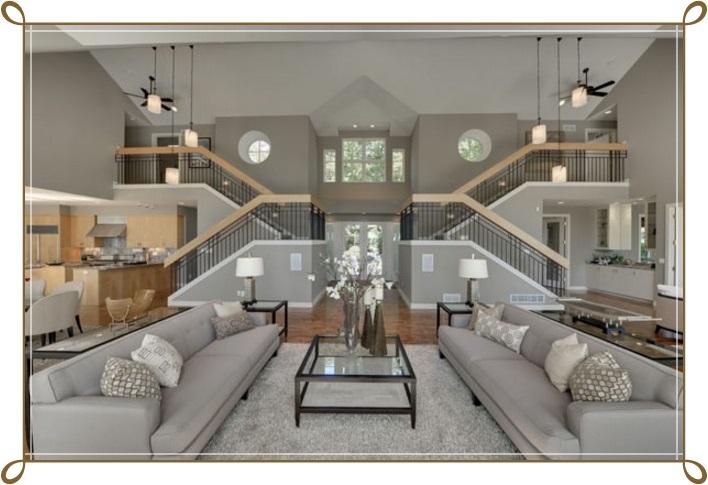 Gri Renk Modern Salon Dekorasyonu