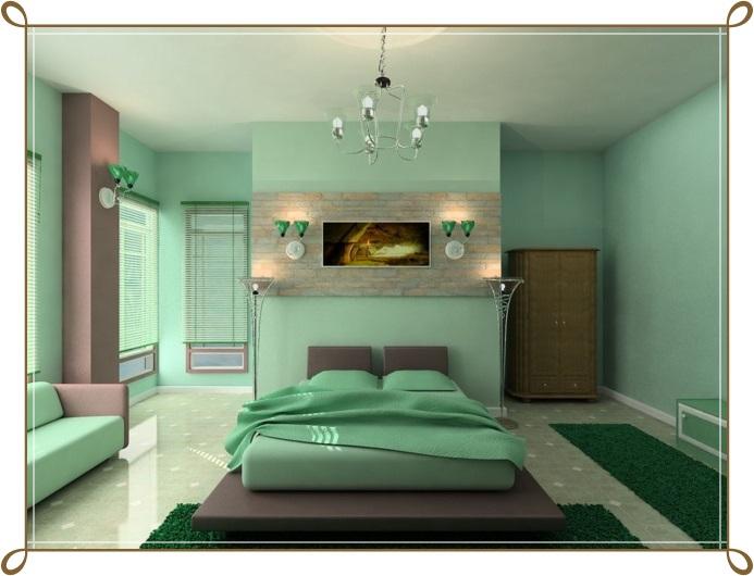 Mint Yeşili Yatak Odası