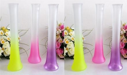 Renkli Buzlu Uzun Cam Vazo