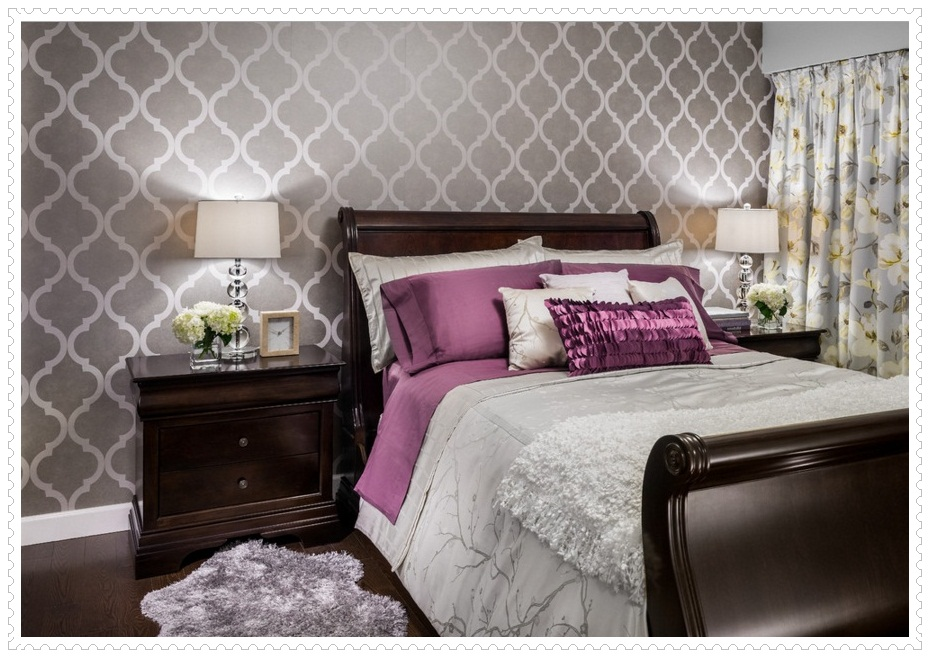 Gri Duvar Kağıdı Yatak Odası Dekorasyonu