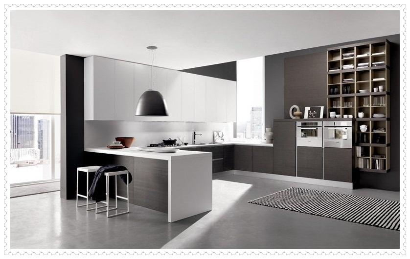 Modern Siyah Beyaz Mutfak Dolapları