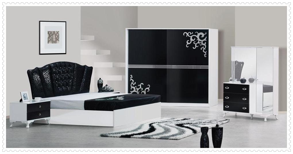 Şık Siyah Beyaz Yatak Odası Modelleri