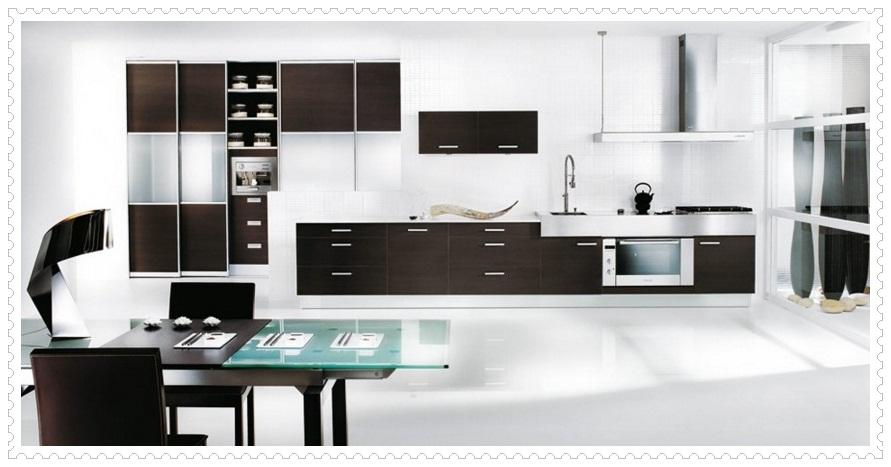 Siyah Beyaz Mutfak Dolapları
