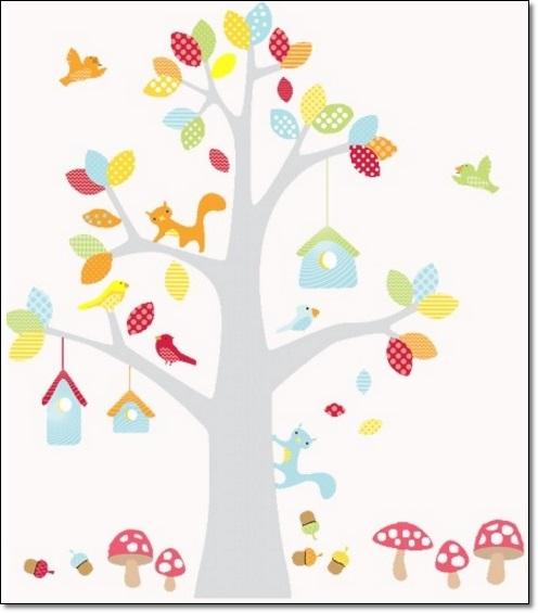 Ağaç Resimli Çocuk Od ası DuvarStickarları