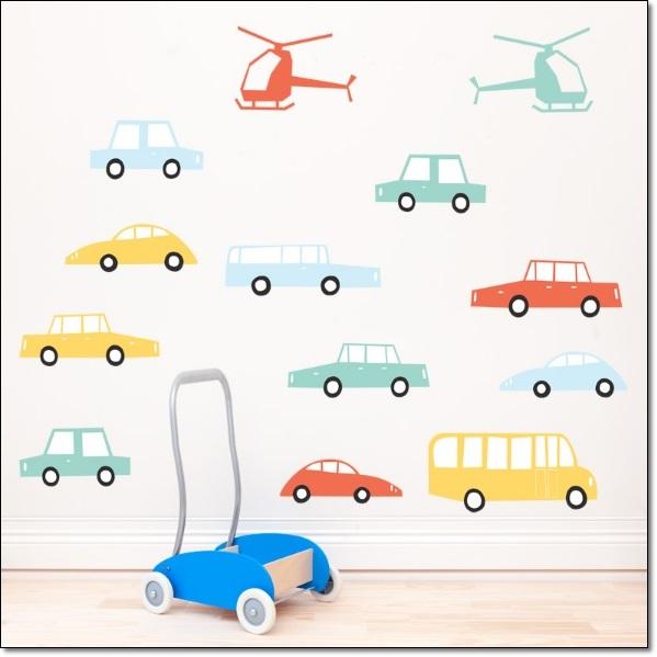 Araba Resimli Çocuk Odası Duvar Stickarları