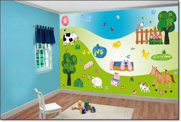 Çiftlik Resimli Çocuk Odası Duvar Stickarları