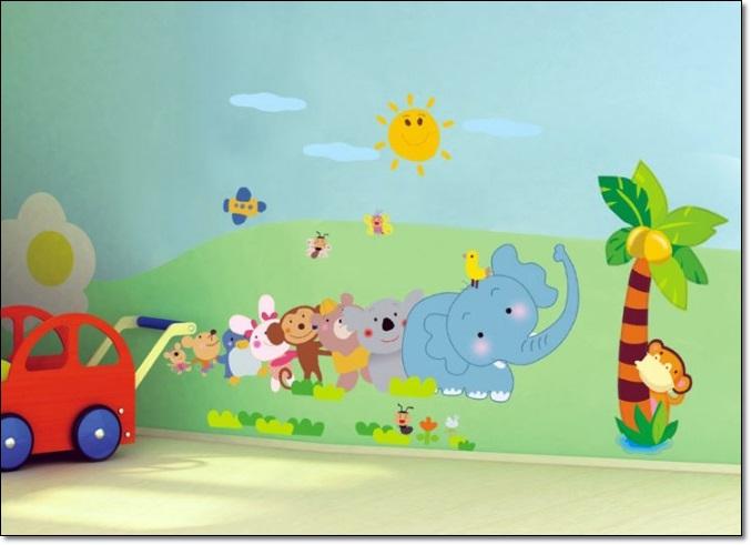 Fil Resimli Çocuk Odası Duvar Stickarları