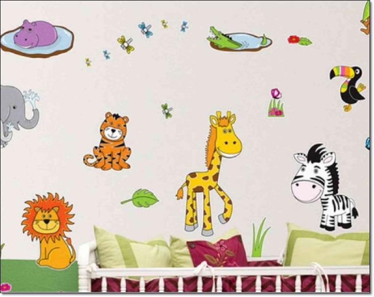 Hayvan Resimli Çocuk Odası Duvar Stickarları
