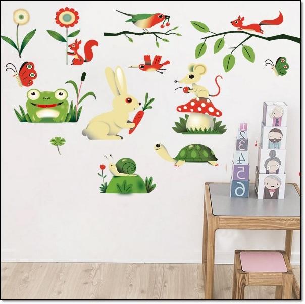 Hayvanlar Resimli Çocuk Odası Duvar Stickarları