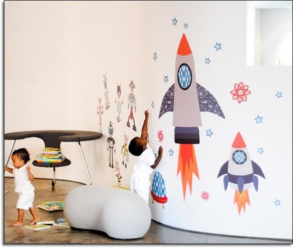 Robot Çocuk Odası Duvar Stickarları
