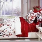 Tasarım Kırmızı Beyaz Yatak Örtüleri