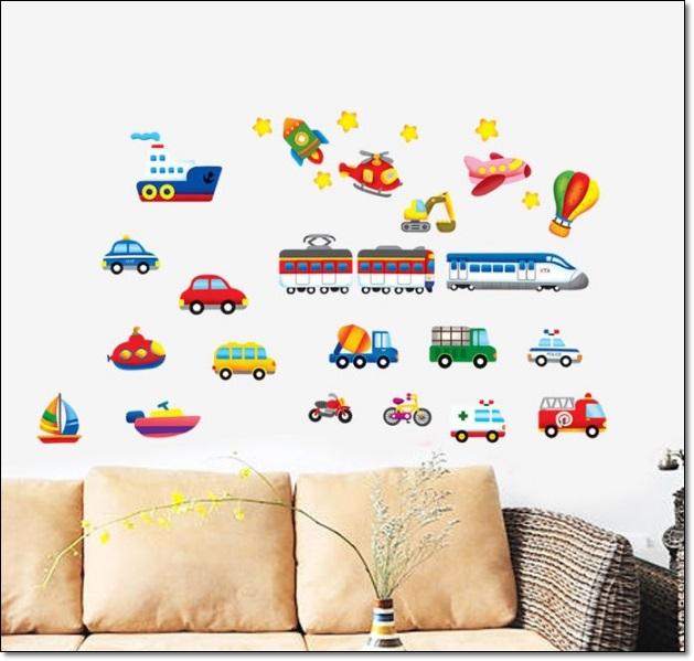 Taşıtlar Resimli Çocuk Odası Duvar Stickarları