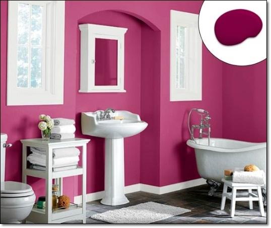 Fuşya Rengi Modern Banyo
