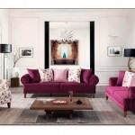 Bordo Oturma Odası Dekorasyonu