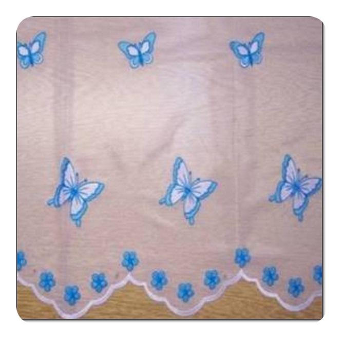 Mavi Kelebek Desenli Tül Perde
