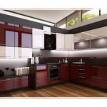 Bordo Krem Mutfak Tasarımı
