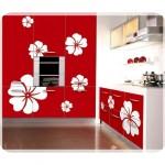 Çiçek Desenli Mutfak Dolabı Modelleri-5