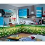 Çiçek Desenli Mutfak Dolabı Modelleri-7