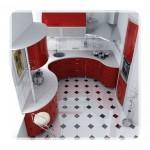 Kırmızı Beyaz Oval Mutfak