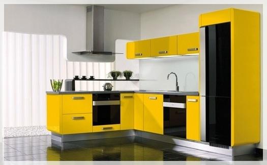 Sarı Akrilik Mutfak Dolapları