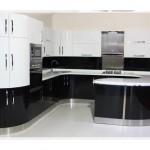 Siyah Beyaz Oval Mutfak