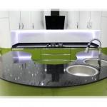 Yeşil Beyaz Oval Mutfak
