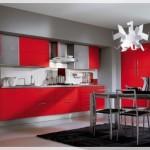 Kırmızı Gri Mutfak Dolapları