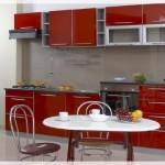 Kırmızı Gümüş Mutfak Dolapları