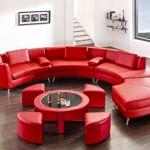 Kırmızı Oval Oturma Grubu