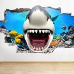 Köpek Balığı 3 Boyutlu Duvar Sticker