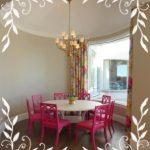 Fuşya Rengi Desenli Mutfak Takımı