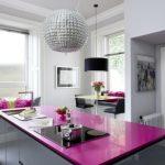 Fuşya Rengi Mutfak Tezgahları