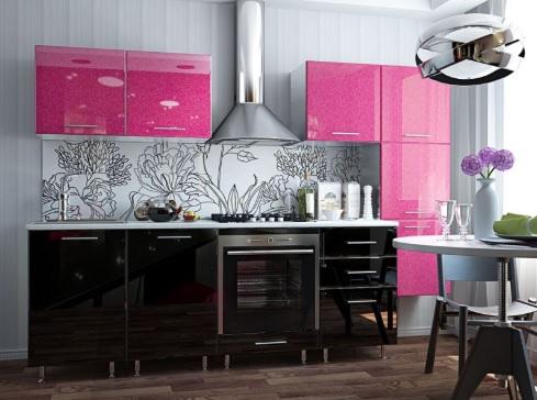 Siyah Fuşya Rengi Mutfak Dolapları