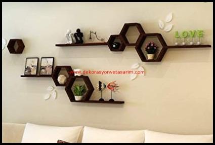 Dekoratif Salon Duvar Rafları