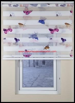Kelebek Desenli Stor Perde Modelleri