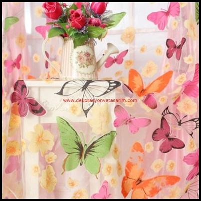 Kelebek Desenli Tül Perde Modelleri