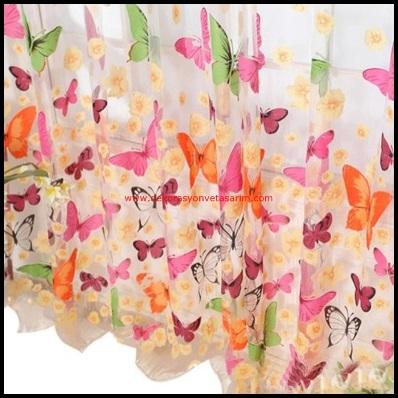 Kelebek Desenli Tül Perde Tasarımları